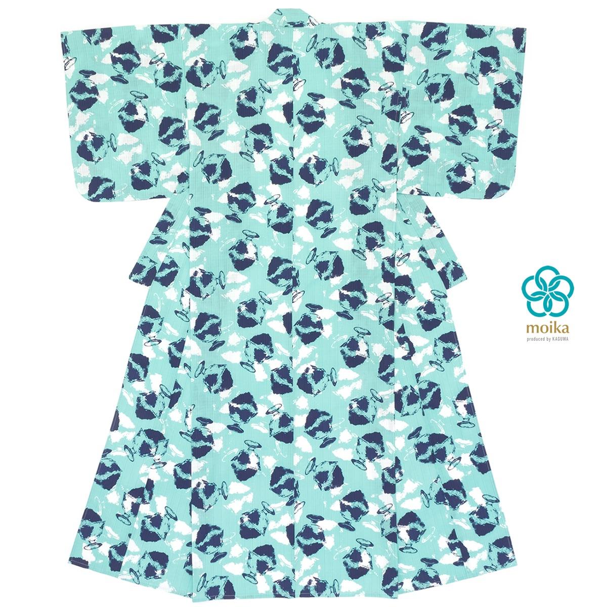 moika 浴衣 レディース 単品 Mサイズ レトロ 青磁色 セイジ かき氷 衿芯付き 女性用 仕立て上がり