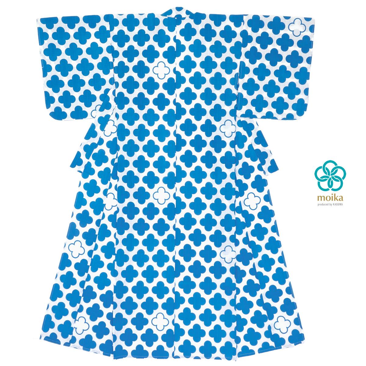 moika 浴衣 レディース 単品 Mサイズ レトロ 青 ブルー 四つ葉 小紋 衿芯付き 女性用 仕立て上がり