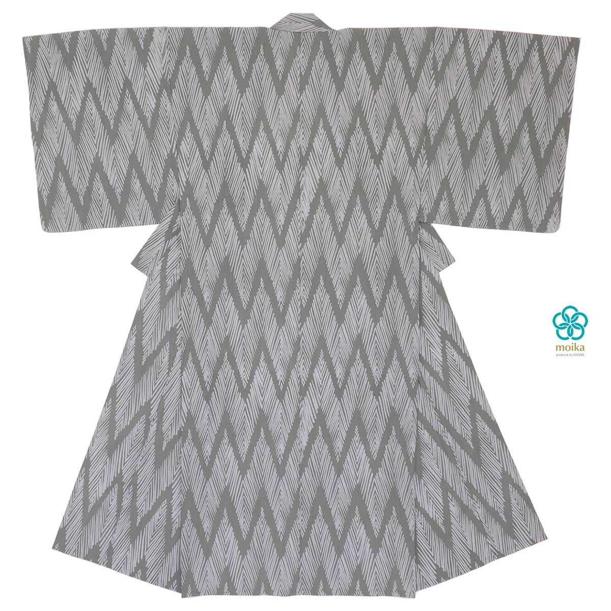 moika 浴衣 メンズ 単品 Mサイズ Lサイズ レトロ 大人 灰色 グレー 山脈縞 ヘリンボーン 男性用 仕立て上がり