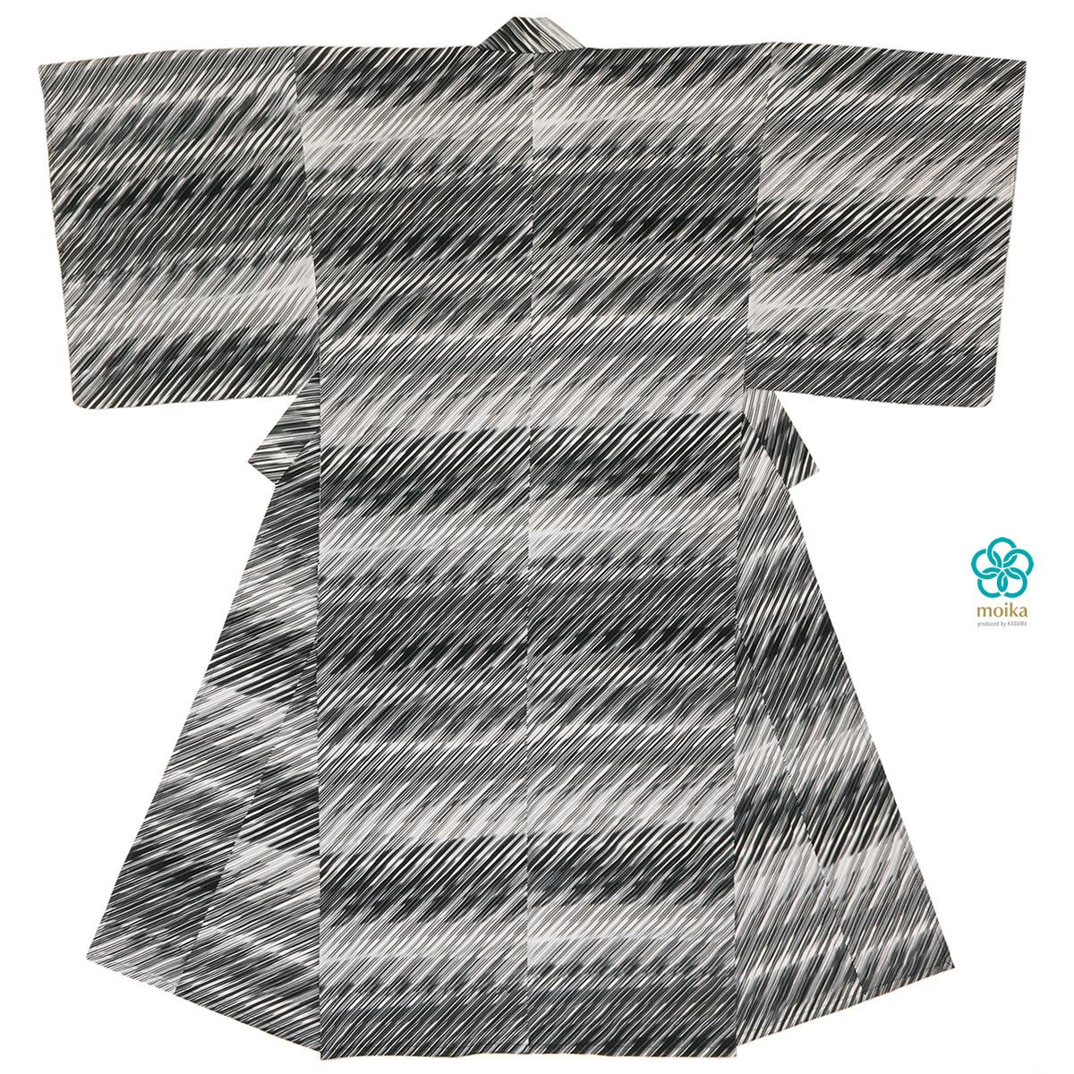 moika 浴衣 メンズ 単品 Mサイズ Lサイズ レトロ 大人 黒白 ブラック/ホワイト 雨 ストライプ 男性用 仕立て上がり