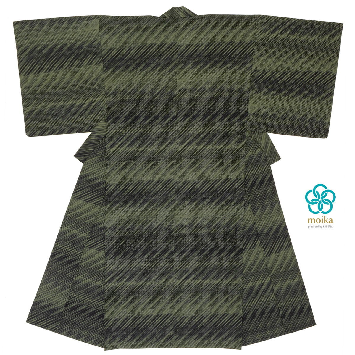 moika 浴衣 メンズ 単品 Mサイズ Lサイズ レトロ 大人 緑 カーキ 雨 ストライプ 男性用 仕立て上がり