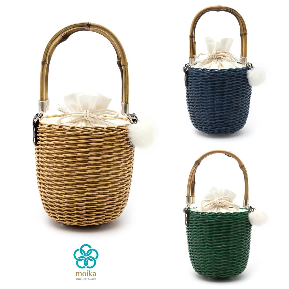 moika 籐籠巾着バッグ レディース 無地 単色 シンプル 麻 籐 チャーム付 女性用 和装小物 ベージュ ブルー グリーン