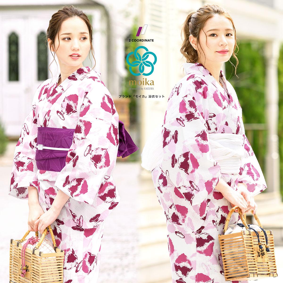 moika 浴衣 セット レディース 浴衣セット Mサイズ レトロ ピンク かき氷 衿芯付き 女性用 仕立て上がり