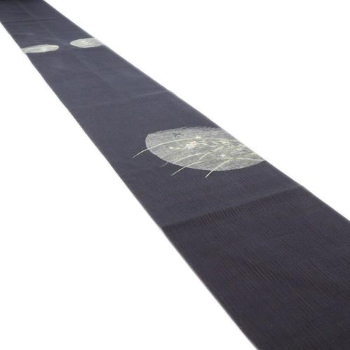 上品よろけ織 霞の月夜秋草模様袋帯 似せ紫お太鼓柄 正絹着物 FP7 5nwPkXN80O