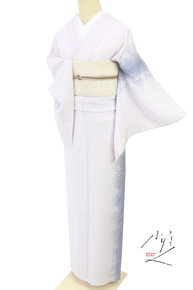 涼感/夏の絽/妖艶バラの花の縦ライン付下げ/淡紅藤色/正絹着物/SM5-12