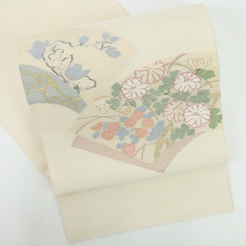 特選夏帯 駒絽 地紙に花々袋帯 セットアップ 往復送料無料 お太鼓柄 FY6-18 正絹着物 クリーム色