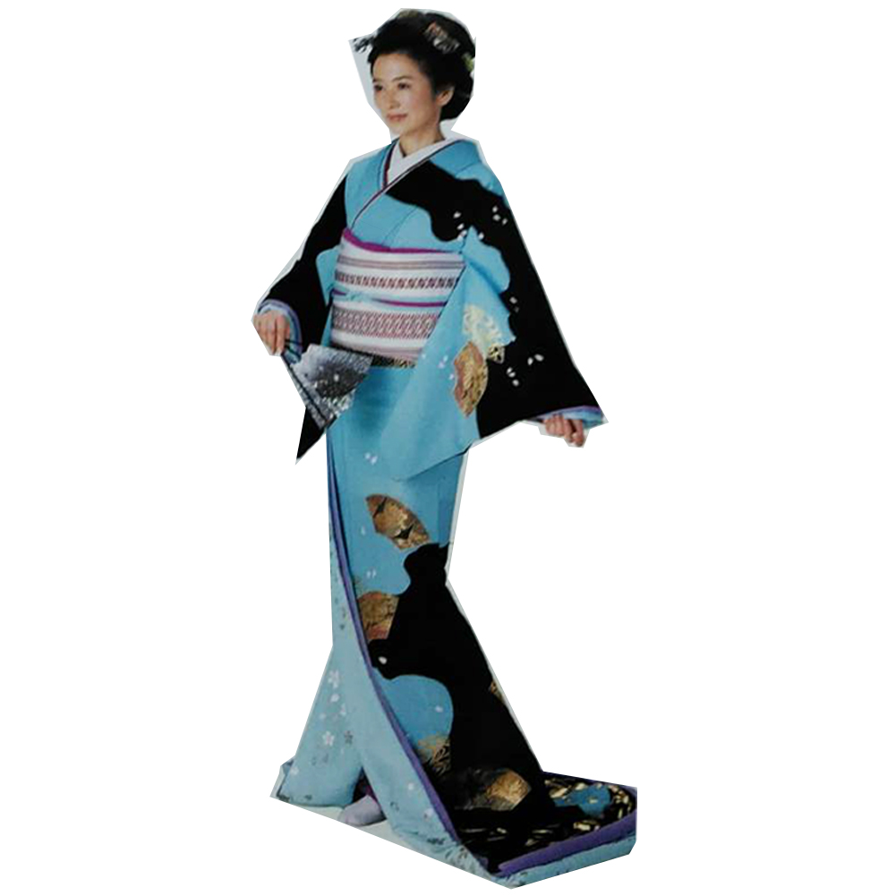 踊り衣装 高級裾引衣装 ブルー 黒 后 wco-70002 踊り おどり 演技 発表会 日本舞踊 舞台衣装 きもの いしょう (特注の為、返品交換キャンセル不可)