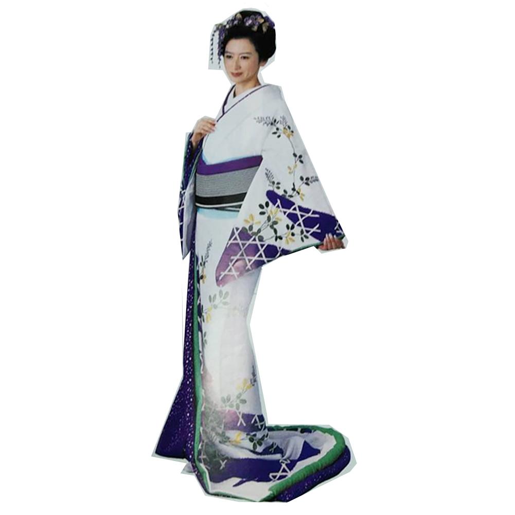 踊り衣装 高級裾引衣装 紫 白 綾 wco-70003 踊り おどり 演技 発表会 日本舞踊 舞台衣装 きもの いしょう (特注の為、返品交換キャンセル不可)
