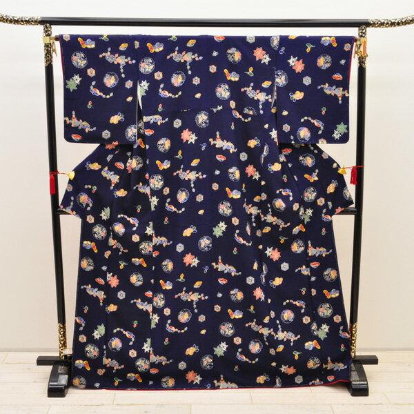 【中古】リサイクル着物 正絹着物 身丈161cm リサイクル小紋きもの uki-216 リサイクル 中古着物 中古きもの