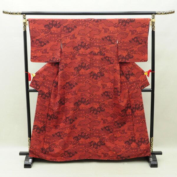 【中古】リサイクル着物 正絹着物 赤茶×濃紫 小紋 リサイクル 中古着物 中古きもの k-162