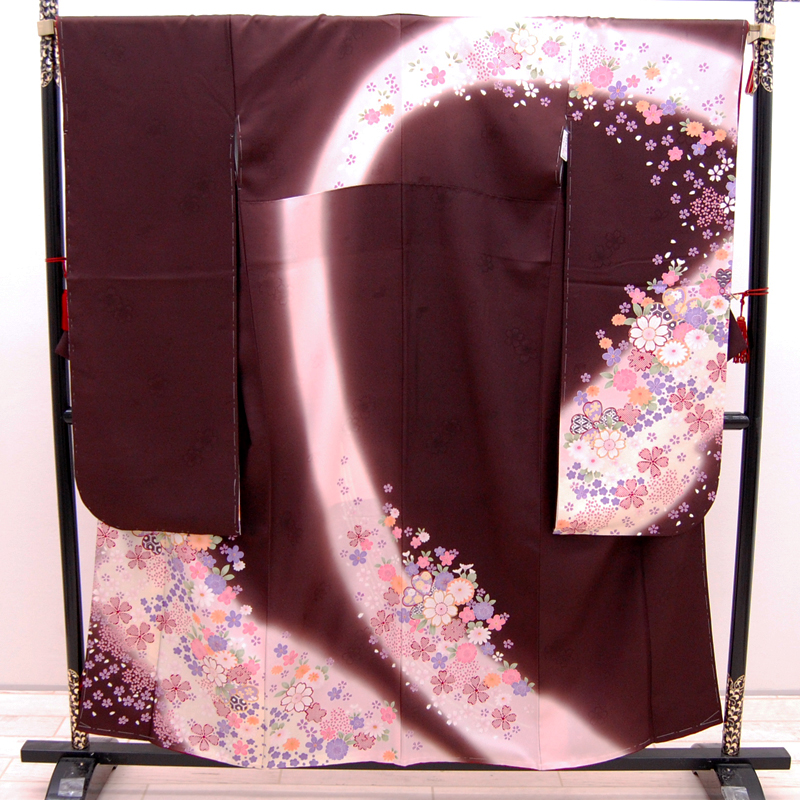【中古】リサイクル着物 正絹 振袖 こげ茶 薄ピンク uk-253 リサイクル 中古着物 中古きもの