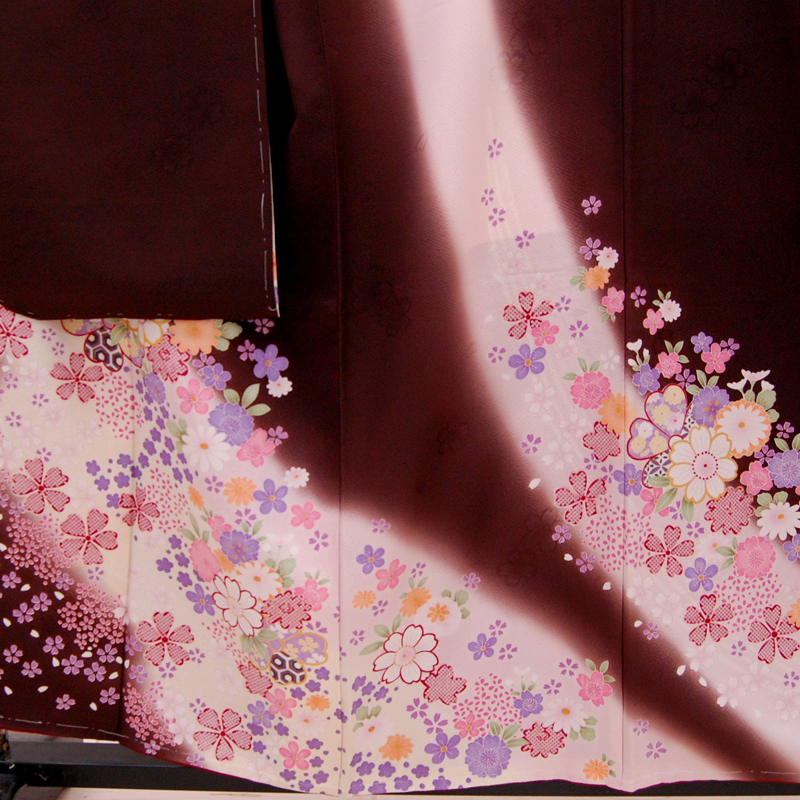 リサイクル着物 正絹 振袖 こげ茶 薄ピンク リサイクル 着物 きもの uk 253vwmN8n0O
