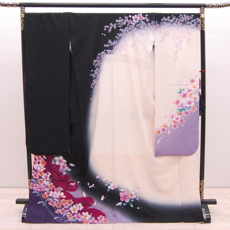 【中古】リサイクル着物 正絹 振袖 黒 白 紫 uk-254 リサイクル 中古着物 中古きもの