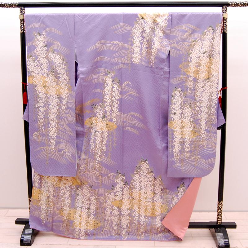 【中古】リサイクル着物 正絹 振袖 ラベンダー 薄紫 藤色 uk-255 リサイクル 中古着物 中古きもの