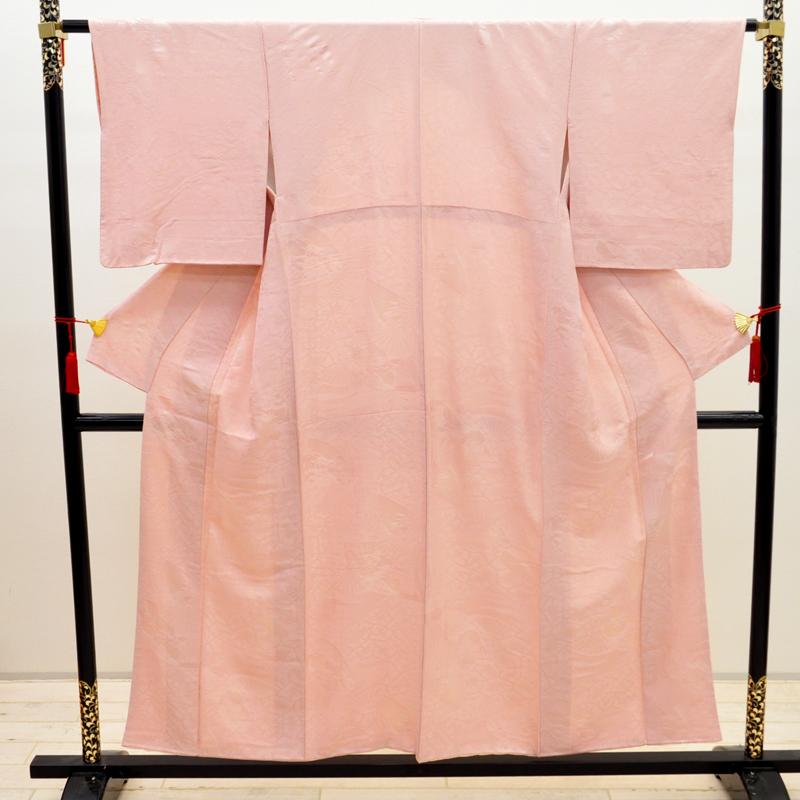 【中古】リサイクル着物 正絹 訪問着 ベビーピンク リサイクル 中古着物 中古きもの uk-256