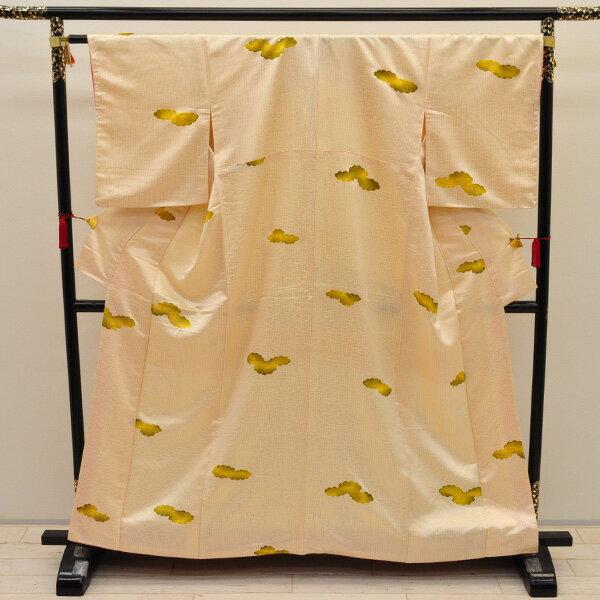 【中古】リサイクル着物 正絹着物 雲取り文 身丈152cm リサイクル小紋 リサイクル 中古着物 中古きもの k-194