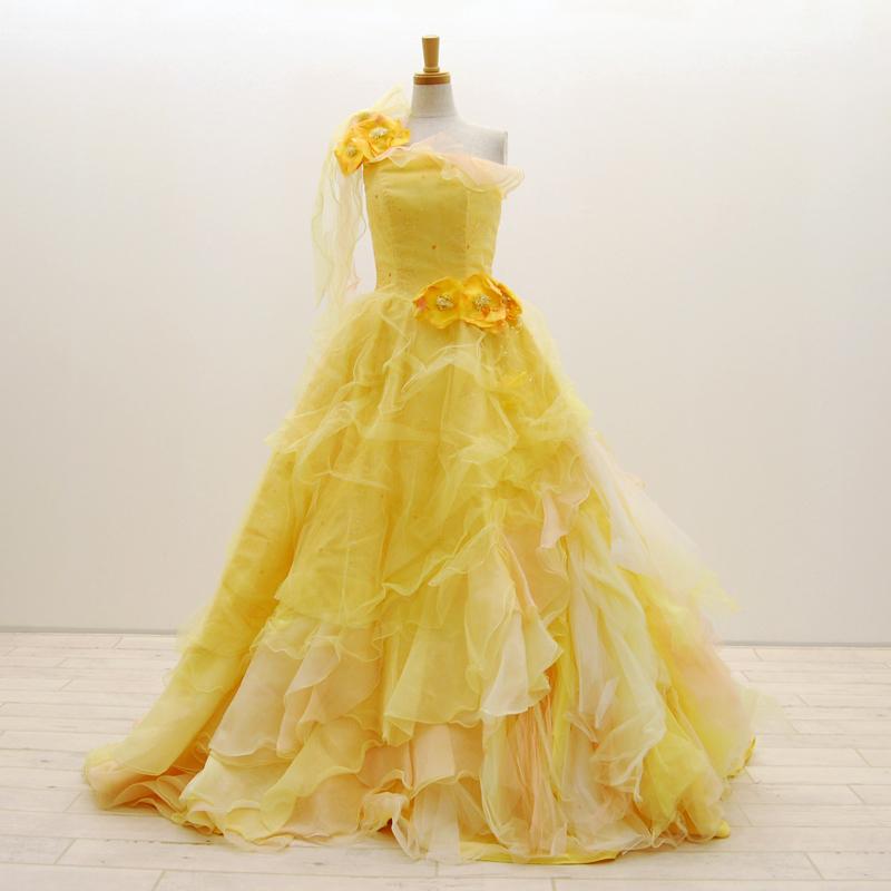 【中古】 リサイクルドレス ウエディングドレス カラー ドレス 黄色 イエロー オレンジ 7号 結婚式 発表会 舞台 衣装 リメイク cd0012
