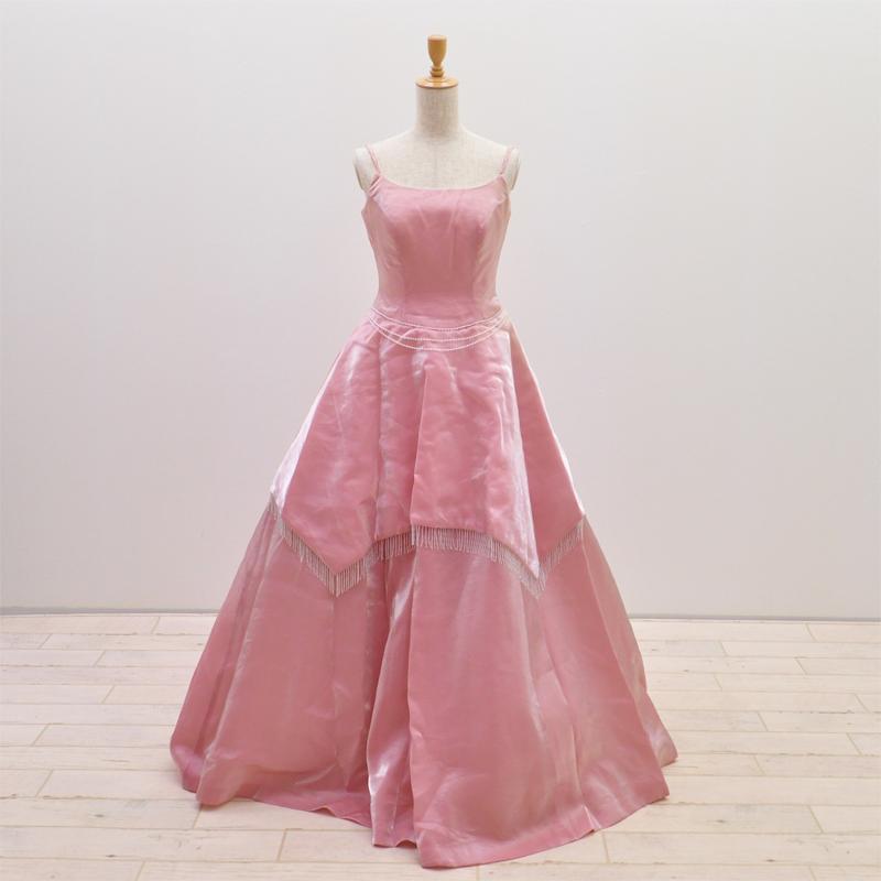 【中古】 リサイクルドレス ウエディングドレス カラー ドレス ピンク色 9T号 LEFENSE 結婚式 発表会 舞台 衣装 リメイク cd2527