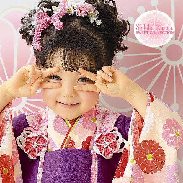 【レンタル】七五三 753 3歳 女の子 着物セット 3歳女の子用被布7点セット 往復送料無料 代金引換不可 3kodomo-22CP