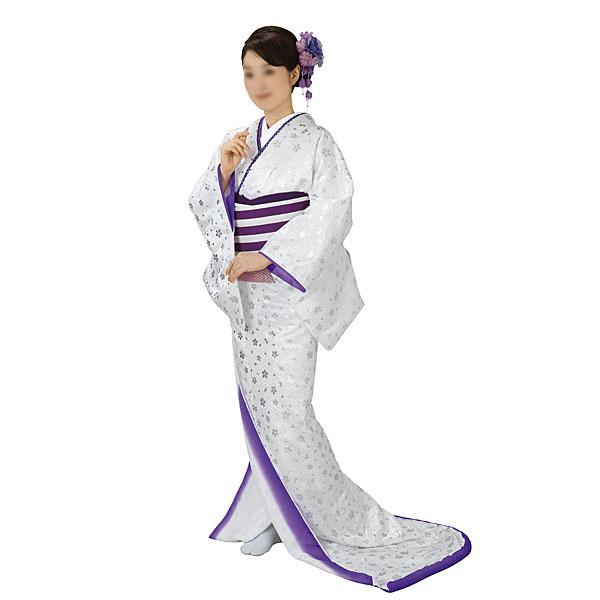 踊り衣装 高級裾引衣装 白・紫・桜総地紋 姿-5363 wco-5363-p46 踊り おどり 演技 発表会 日本舞踊 舞台衣装 きもの いしょう (特注の為、返品交換キャンセル不可)