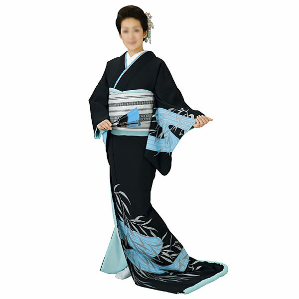 踊り衣装 高級裾引衣装 黒地・水色流水 姿-5365 wco-5365-p46 踊り おどり 演技 発表会 日本舞踊 舞台衣装 きもの いしょう (特注の為、返品交換キャンセル不可)