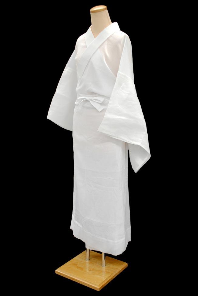 【夏物】綿麻楊柳素材☆お仕立て上がり洗える長襦袢(袖取り外し式) 半衿付きLサイズ~真夏の長襦袢~