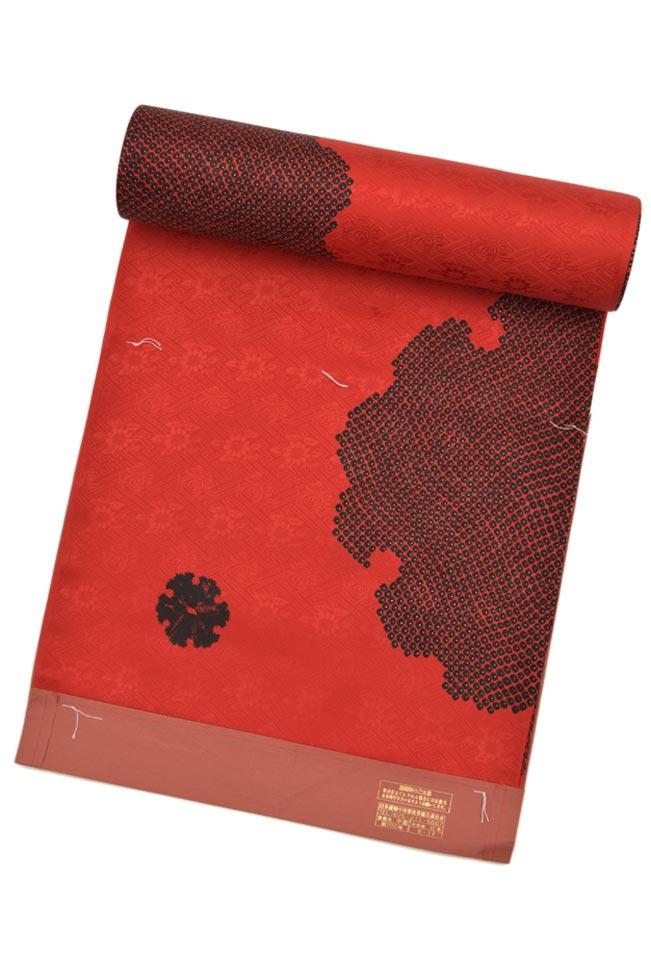 【特選振袖用長襦袢】 「鹿の子大雪輪」 赤×黒 ☆内側もおしゃれに 色鮮やかなデザイン!