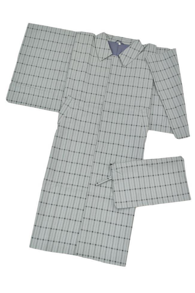 男物/紳士用和装雨コートライトグレー/Lサイズ#HANAE-MORI