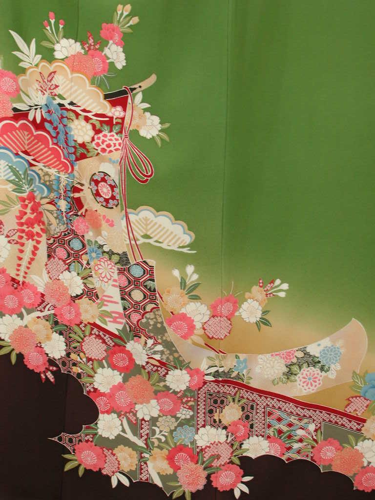 【レンタル】謝恩会正絹成人式和装 披露宴結納 結婚式パーティー正絹 きもの振袖 着物貸衣裳 貸衣装 往復 送料無料レンタル ノーマルサイズ KF117華セット