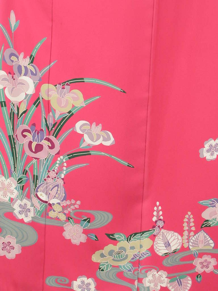 【レンタル】謝恩会正絹成人式和装 披露宴結納 結婚式パーティー正絹 きもの振袖 着物貸衣裳 貸衣装 往復 送料無料レンタル ノーマルサイズ KF112華セット