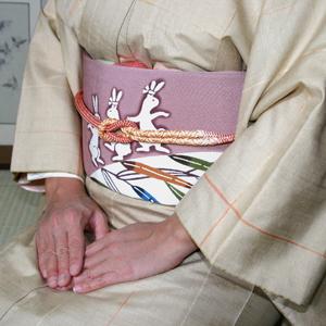 栗山紅型 二部式つけ帯 うさぎのダンス【送料無料】