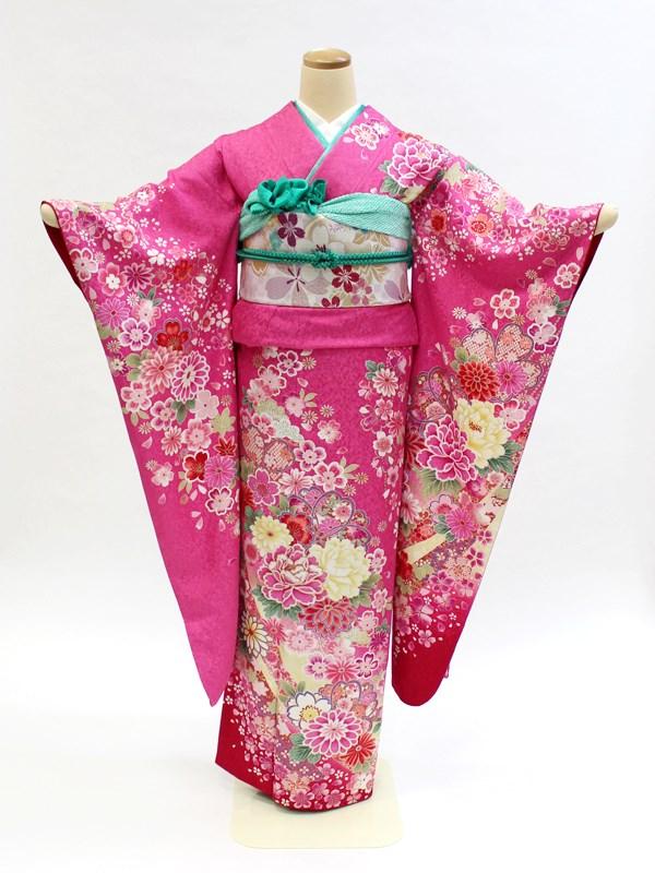 振袖レンタル フルセット 身長150~166cm対応 ピンク 牡丹 菊 桜 裾赤ボカシ NR-100 結婚式 披露宴 パーティーなどに