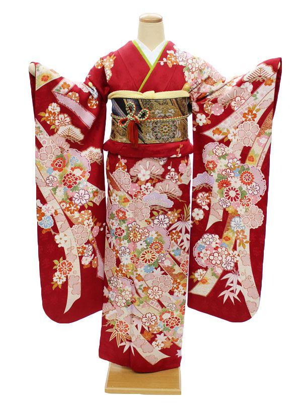 振袖レンタル 成人式 結婚式 宅配 フルセット 身長150〜160cm対応 赤 古典柄 熨斗 菊 雪輪 NR-150