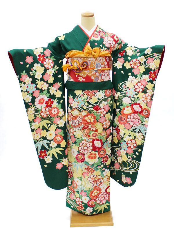 振袖レンタル 成人式 結婚式 宅配 フルセット 身長155〜165cm対応 緑 牡丹 手毬 古典 NR-157