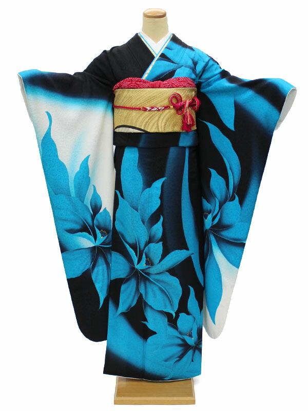 【レンタル】 成人式 振袖 レンタル 安い ネット 着物 高級 正絹 呉服屋 青 黒 大きいサイズ ぽっちゃり 格安 フルセット モダン 個性的 身長159~168cm NR-164