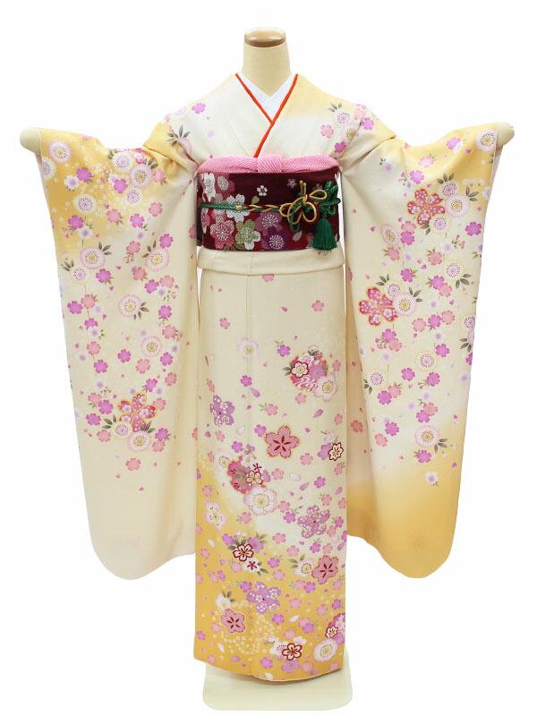 <成人式用> 振袖レンタル フルセット 身長150~162cm対応 白/黄色 桜 小花 NR-126 結婚式 披露宴 パーティーなどに
