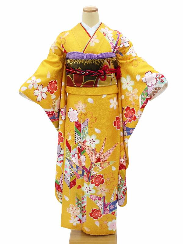 振袖レンタル フルセット 身長155~166cm対応 黄色 折鶴 矢羽根 レトロ 古典 NR-129 結婚式 披露宴 パーティーなどに