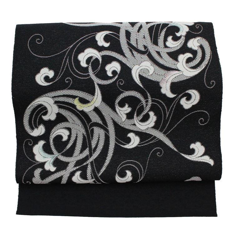 名古屋帯 単衣 夏用 博多織 八寸 新品 反物 羅織り 白 波柄 シンプル 無地感 お仕立てサービス