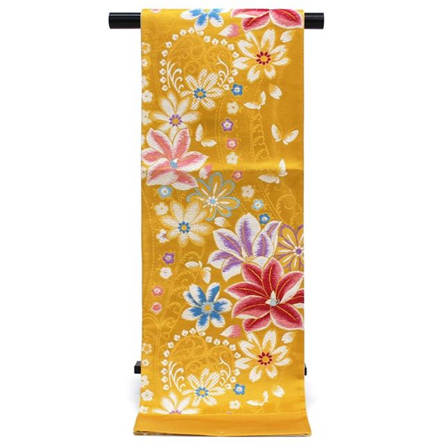 袋帯 振袖用 成人式 西陣織 帯地 新品 単品 未仕立て お仕立てサービス 山吹色 花 蝶 黄色 日本製