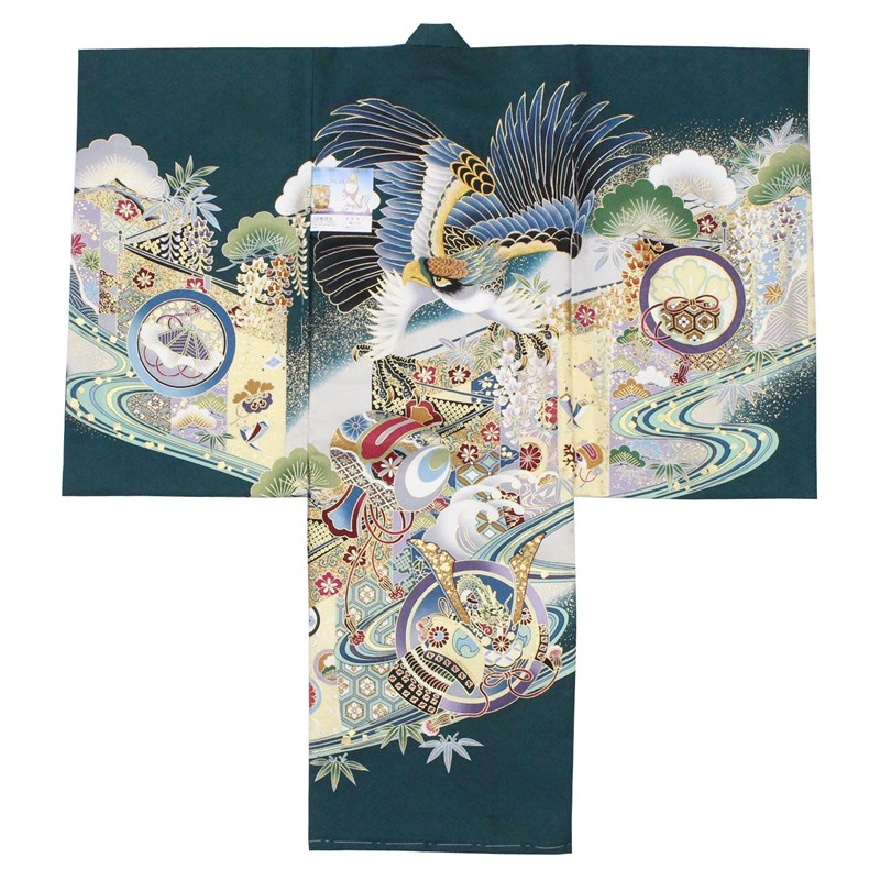 【クーポン対象】 お宮参り 着物 男の子 男児 産着 初着 祝い着 深緑 緑 正絹 綸子 鷹 打ち出の小槌 鼓 刺繍 日本製