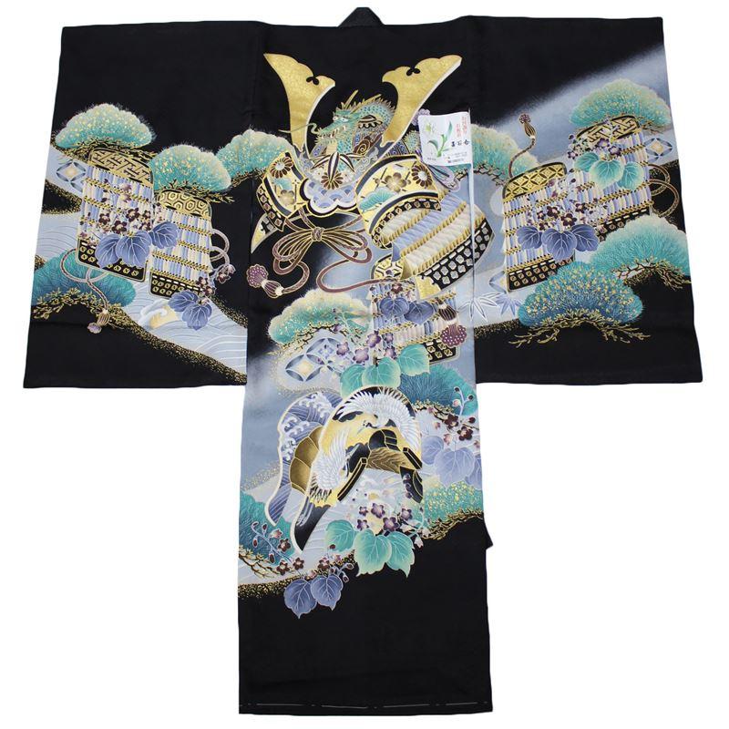お宮参り 着物 男の子 男児 産着 初着 祝い着 黒 正絹 兜 かぶと 軍配 鼓 日本製
