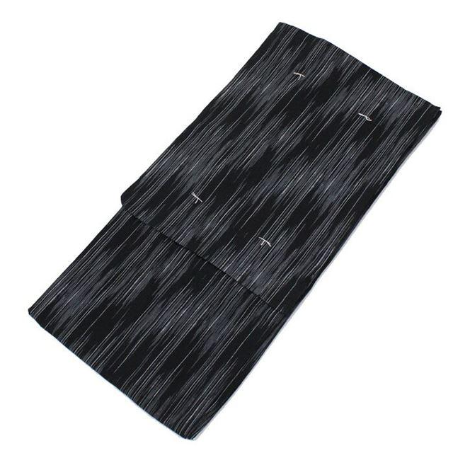 【クーポン対象】 浴衣 男 ゆかた メンズ 男性用 仕立上がり Lサイズ 黒 両面プリント 縞 市松