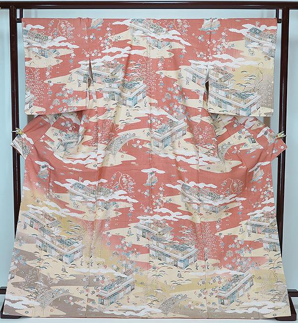 ■裄69.5cm 誂え流れ 未使用品しょうざん生紬 訪問着黄成り・ピンク ハギレなし
