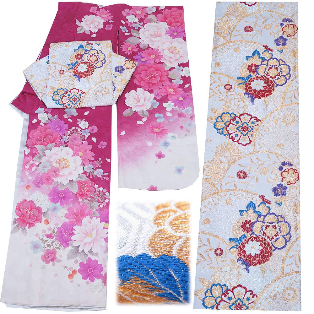 ■2点セット 裄70cm 【中古】 美品 正絹 振袖 袋帯 振袖セット 帯は新品