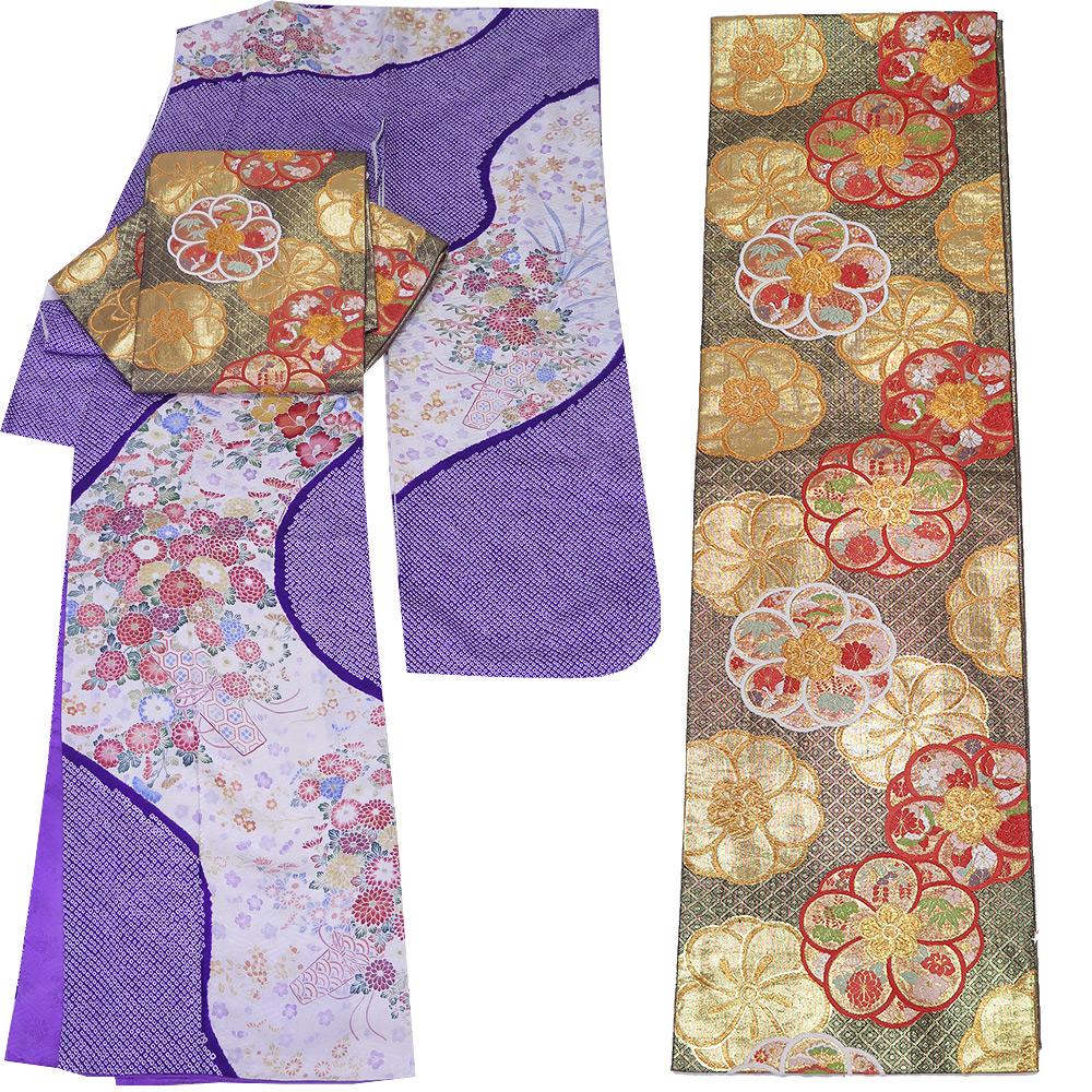 ■2点セット 裄65.5cm 【中古】 美品 正絹 絞り振袖 佐賀錦 唐織 袋帯