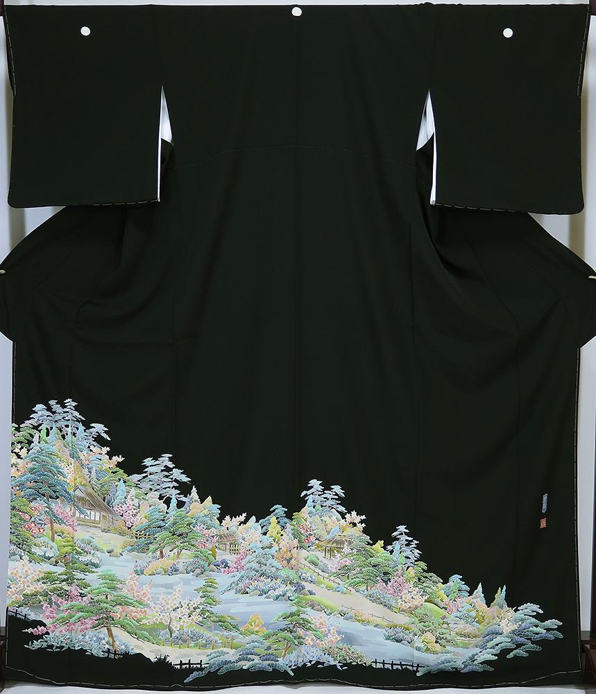 ■紋入れ代込み 本場加賀友禅 谷崎善治 作 黒留袖 清香 新品 お仕立上り ハギレあり