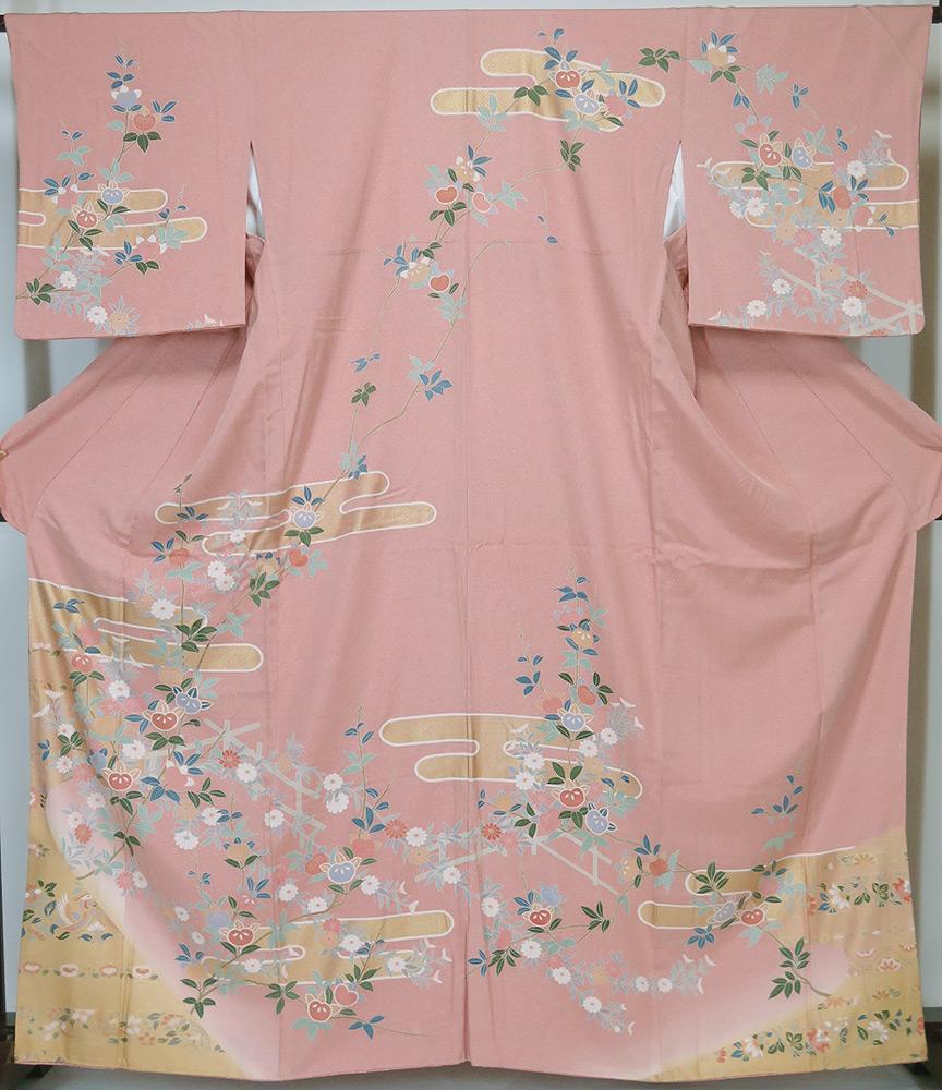 ★新春早割 【中古】 美品 若向き 京友禅 型染 訪問着 ピンク