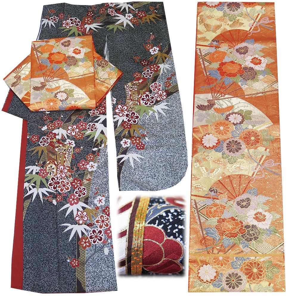 ■3点セット 【中古】 美品 正絹 振袖 ・ 袋帯 長襦袢 小さめサイズ