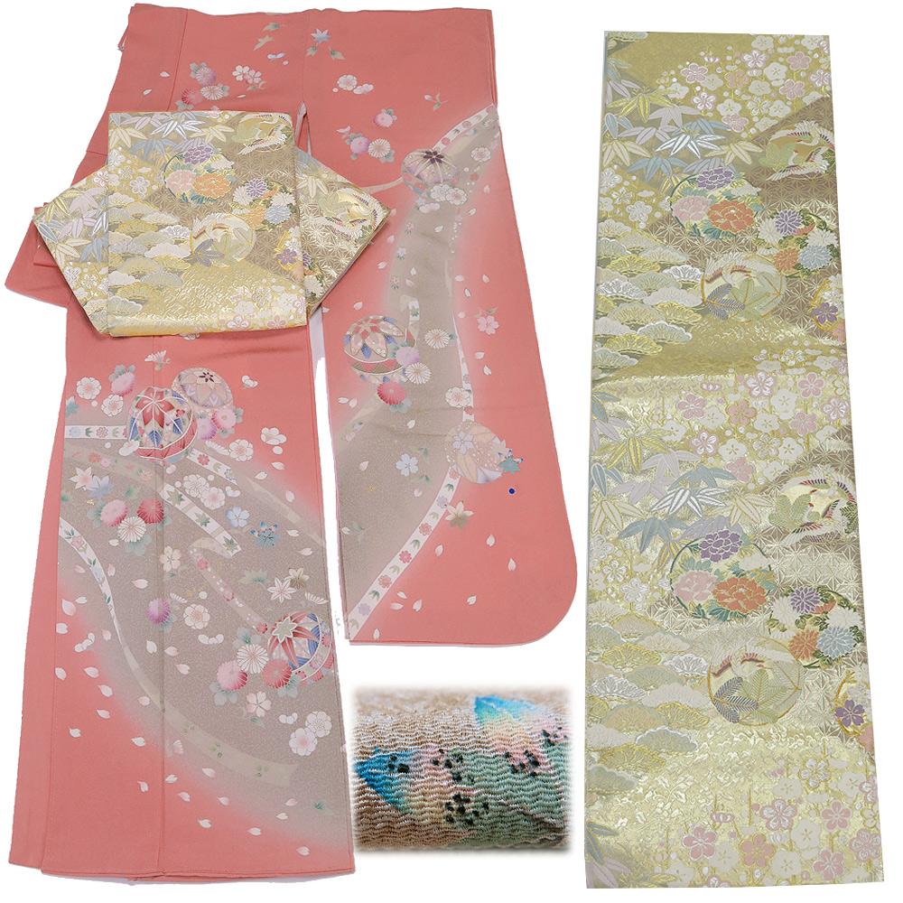 ■2点セット 【中古】 美品 正絹 振袖 六通柄 袋帯