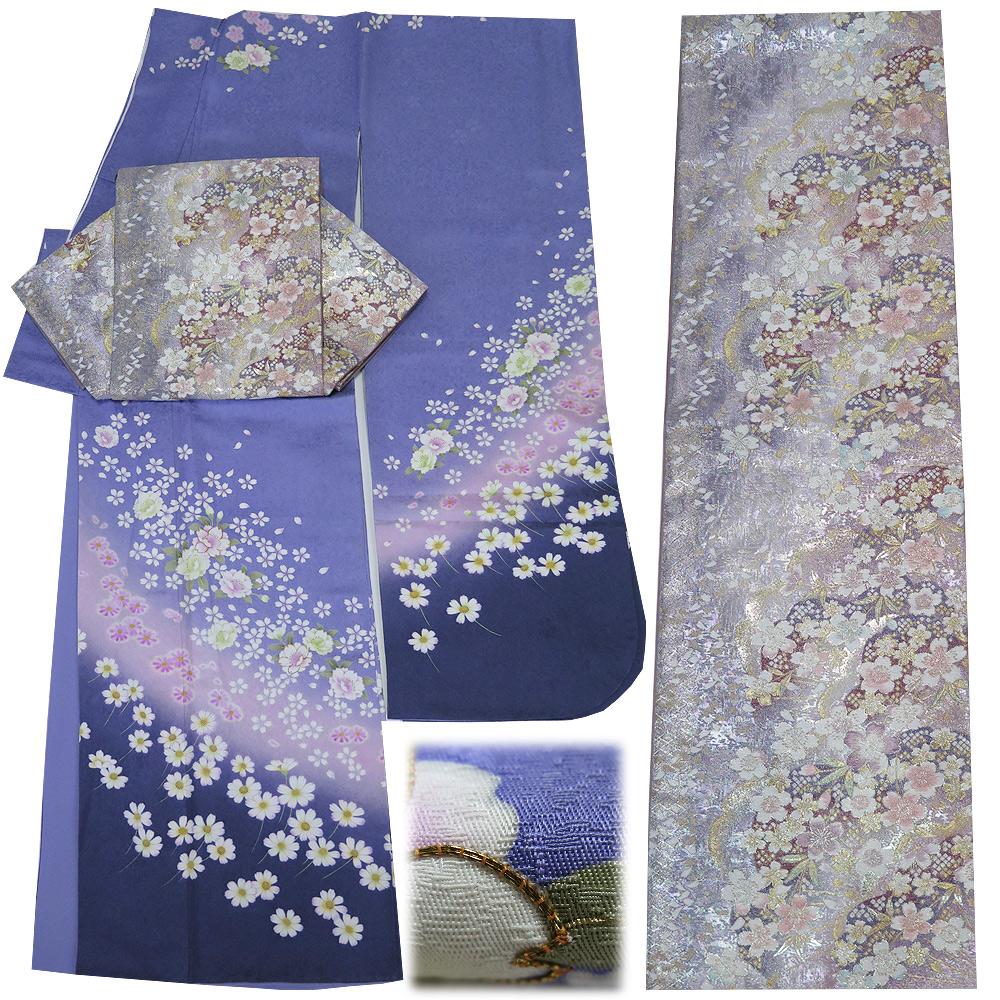 ■2点セット 【中古】 正絹 振袖 六通柄 袋帯